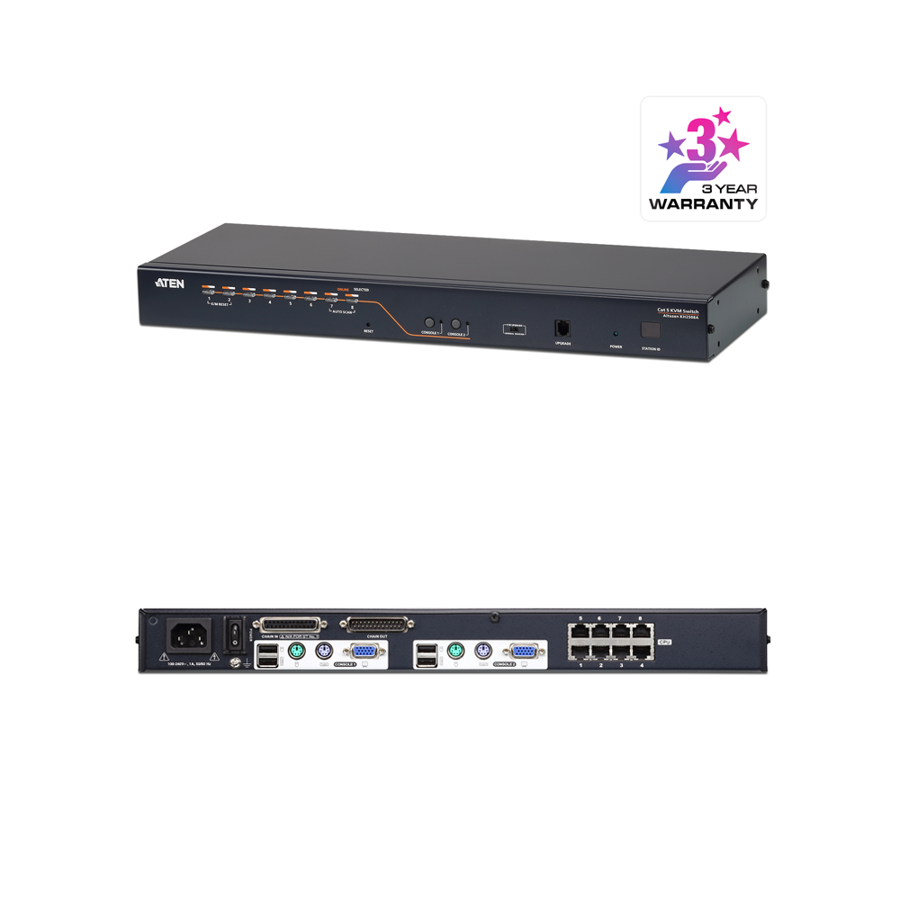Aten KH2508A | 2-Console 8-Port Multi-Interface Cat 5 KVM Switch - Network Warehouse
