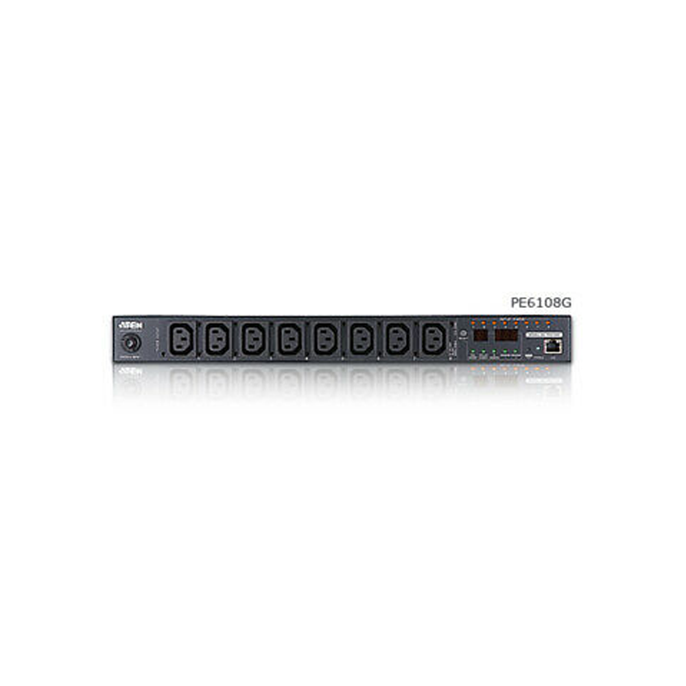 Aten PE8108G | 15A/10A 8-Outlet 1U Outlet-Metered & Switched eco PDU (C13 x 8) - Network Warehouse