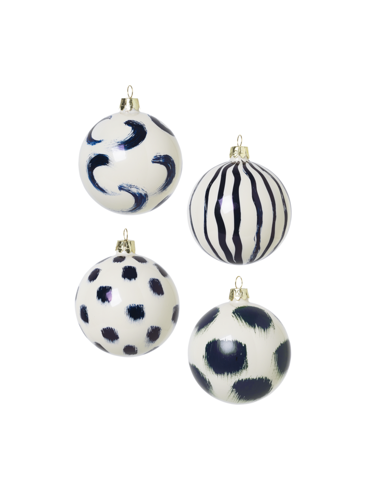 HAND PAINTED TREE DECORATIONS blue