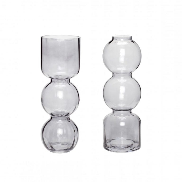 SMOKED GLASS VASES/ SET OF 2