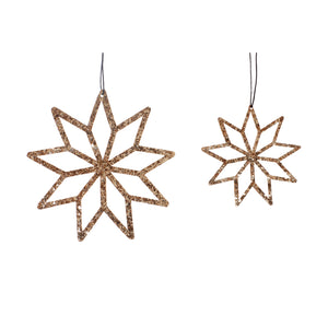 GOLD SNOWFLAKE DECORATION SET OF 2