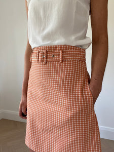 GINGHAM SKIRT/ TERRACOTTA