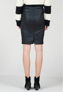 BLACK WAXED PENCIL SKIRT