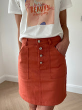 Load image into Gallery viewer, TERRACOTTA DENIM SKIRT