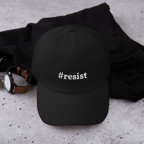 Dad hat - #resist - wht logo