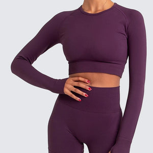 Women's Long Sleeve Top & Gym Leggings Set