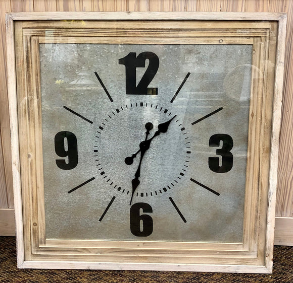 Oversized Square Wood Framed Clock