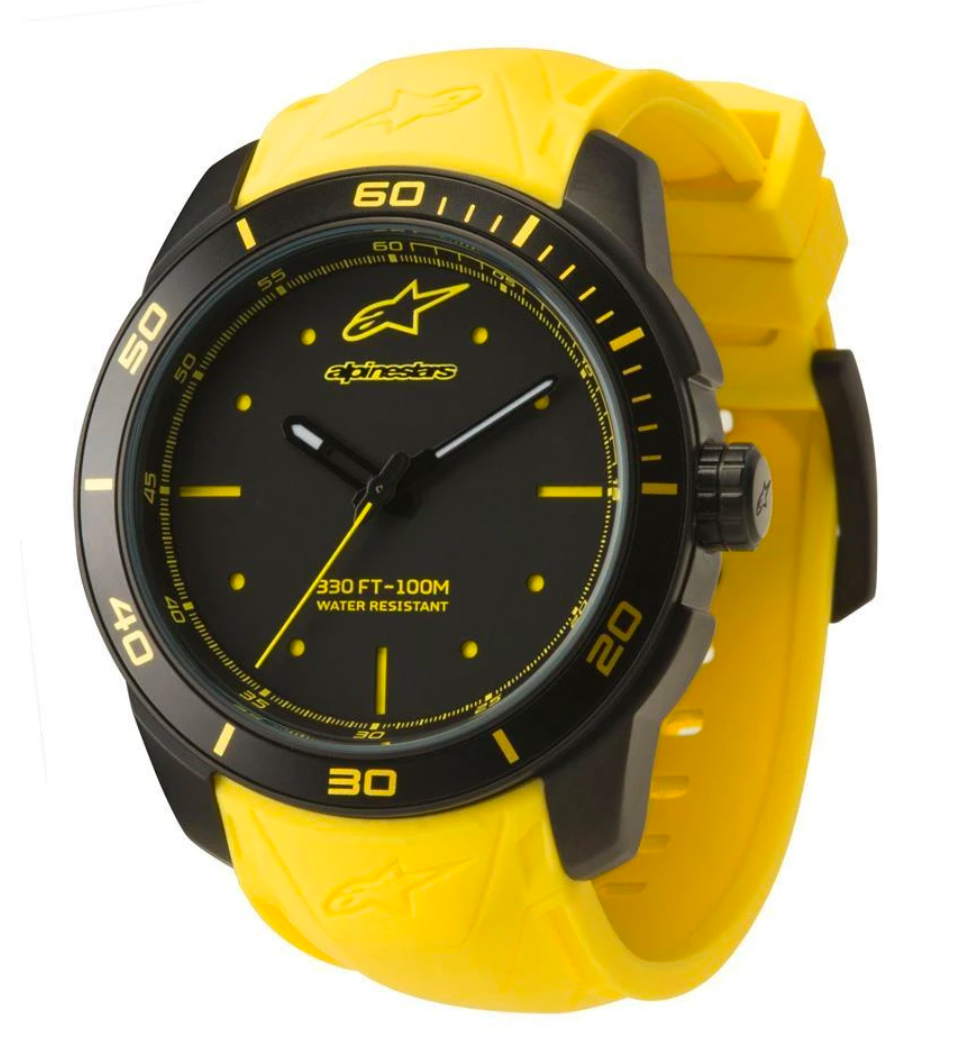 Alpinestars Tech Watch 3 Hands Black Stainless Steel Case - Yellow Accent with Integrated Silicone Strap