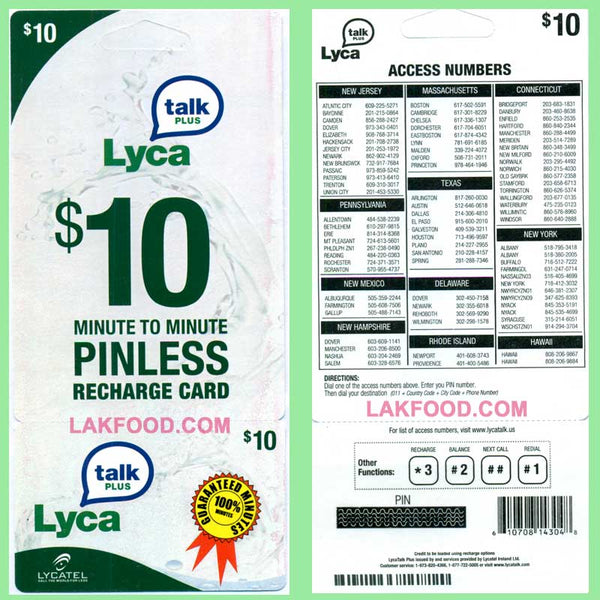 Lyca Talk Pinless International Calling Card $10