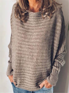Gray Casual Cotton Sweater