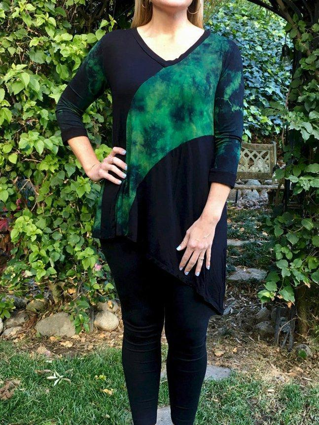 Black Cotton-Blend Long Sleeve Ombre/tie-Dye Shirts & Tops