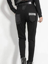 Load image into Gallery viewer, Black Cotton-Blend Casual Sheath Pants
