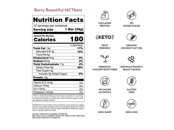 MCT Bar | Berry Beautiful, 1.34oz | 12-Pack