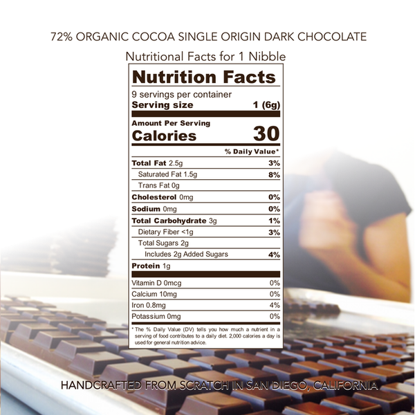 Nibble Chocolate | 72% Dominican Organic Dark Chocolate, 2oz | 6-Pack