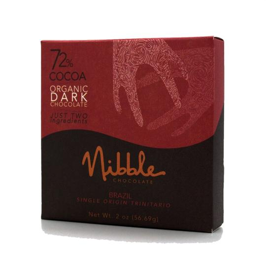 Nibble Chocolate | 72% Brazil Organic Dark Chocolate, 2oz | 6-Pack