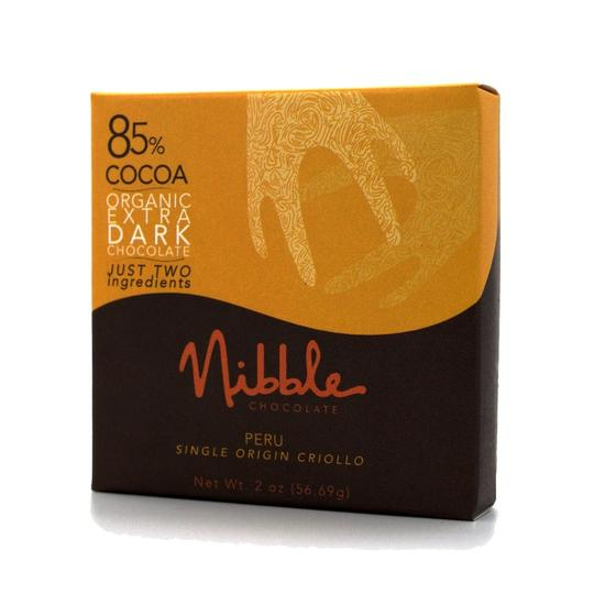 Nibble Chocolate | 85% Peru Organic Dark Chocolate, 2oz | 6-Pack