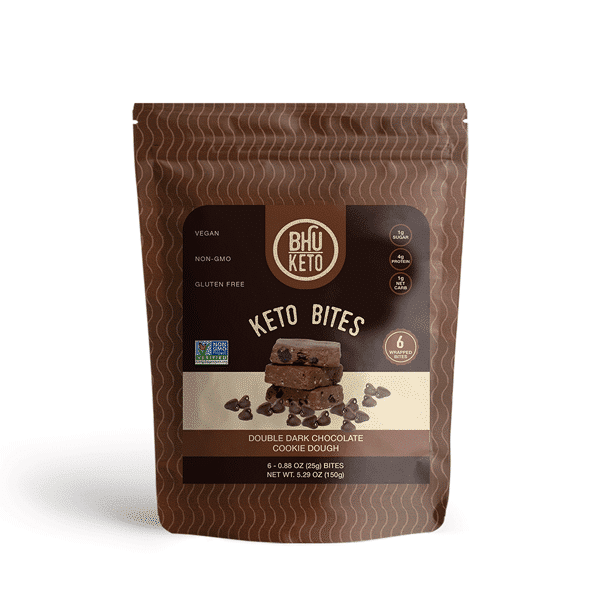 Bhu Foods | Double Dark Chocolate Cookie Dough Keto Bites, 5.29oz | 2-Pack