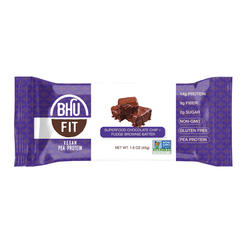 Bhu Foods | Superfood Chocolate Chip Fudge Brownie Batter Fit Bar, 1.6oz | 12-Pack