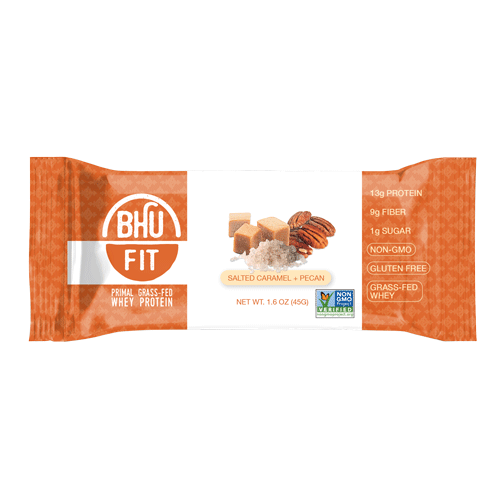 Bhu Foods | Salted Caramel Pecan Fit Bar, 1.6oz | 12-Pack