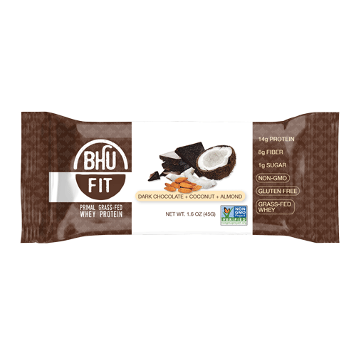 Bhu Foods | Dark Chocolate Coconut Almond Fit Bar, 1.6oz | 12-Pack
