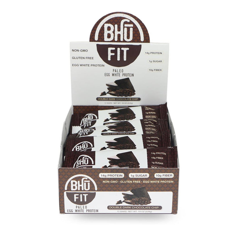 Bhu Foods | Double Dark Chocolate Chip Fit Bar, 1.6oz | 12-Pack