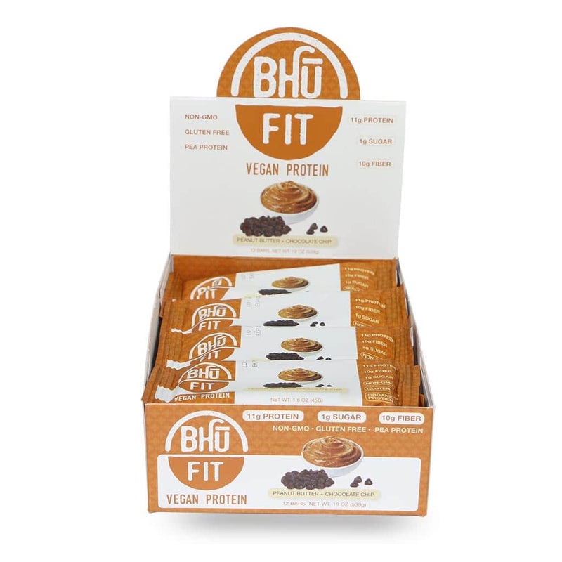 Bhu Foods | Peanut Butter Chocolate Chip Fit Bar, 1.6oz | 12-Pack