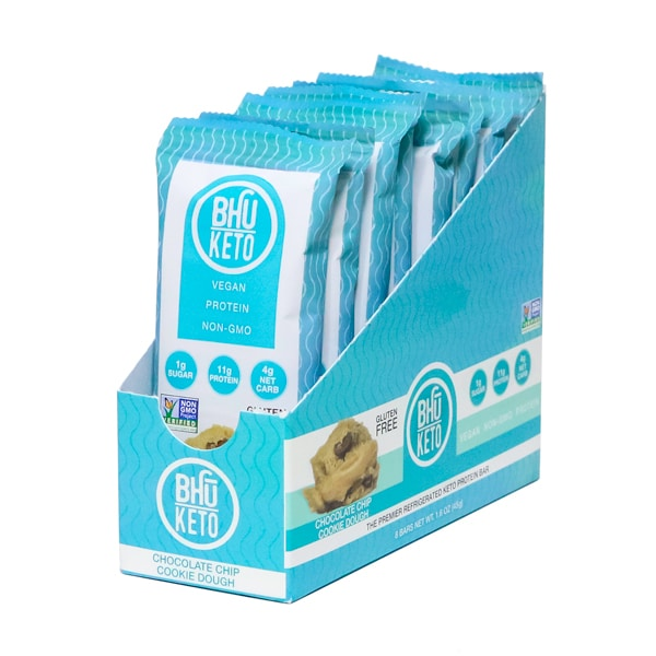Bhu Foods | Chocolate Chip Cookie Dough Keto Bar, 1.6oz | 8-Pack