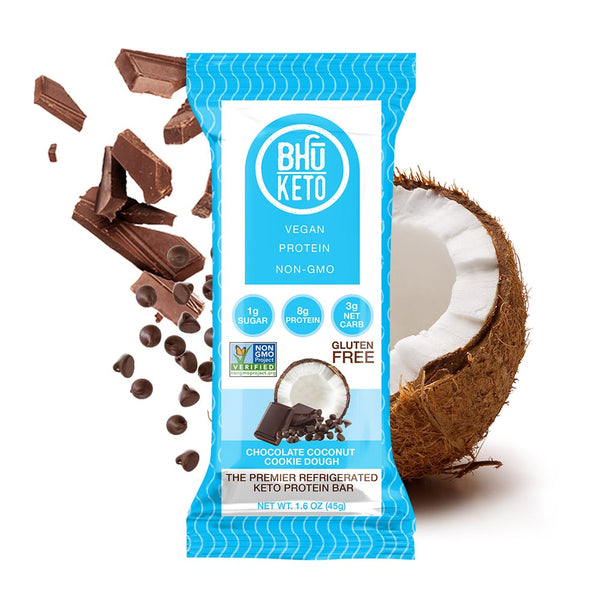 Bhu Foods | Chocolate Coconut Cookie Dough Keto Bar, 1.6oz | 8-Pack