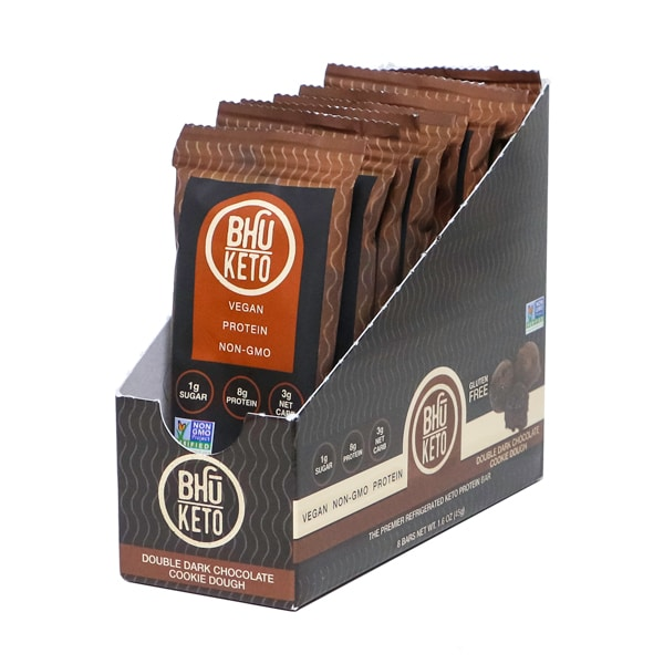 Bhu Foods | Double Dark Chocolate Cookie Dough Keto Bar, 1.6oz | 8-Pack