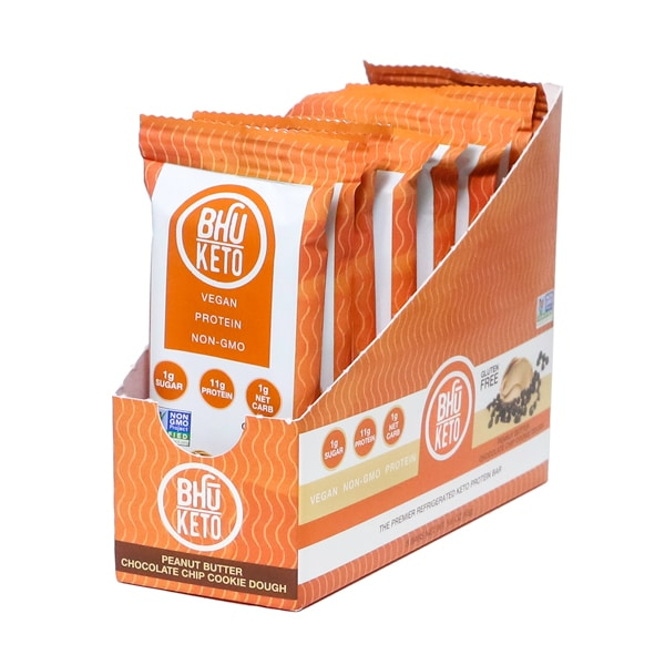 Bhu Foods | Peanut Butter Chocolate Chip Cookie Dough Keto Bar, 1.6oz | 8-Pack