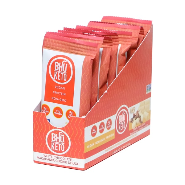 Bhu Foods | White Chocolate Macadamia Cookie Dough Keto Bar, 1.6oz | 8-Pack