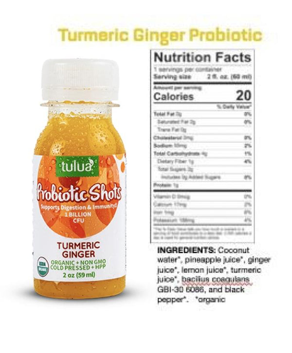 Tulua | Turmeric Ginger Probiotic Shot, 2oz | 6-Pack