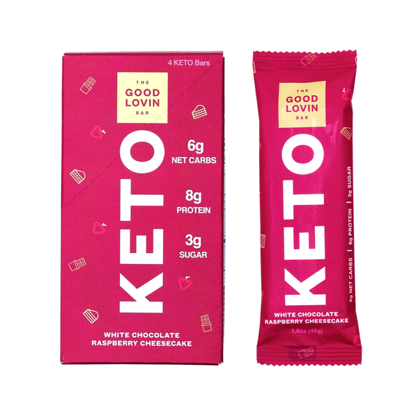The Good Lovin Bar | White Chocolate Raspberry Keto Bar, 1.6oz | 4-Pack