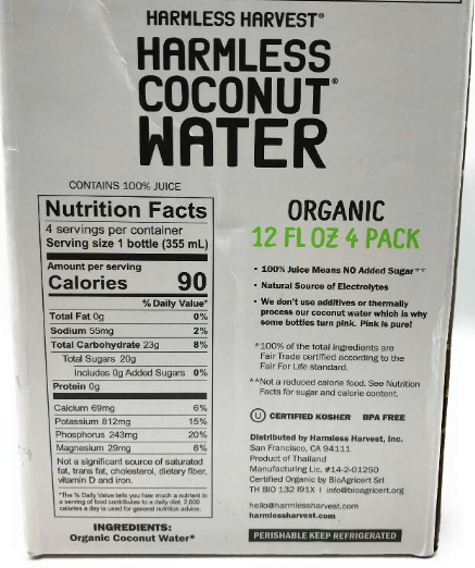 Harmless Harvest | Original Coconut Water, 12oz | 4-Pack
