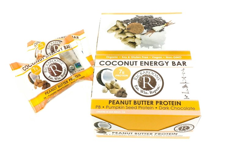 Rickaroons | Peanut Butter Protein Coconut Energy Bar, 1.6oz | 12-Pack