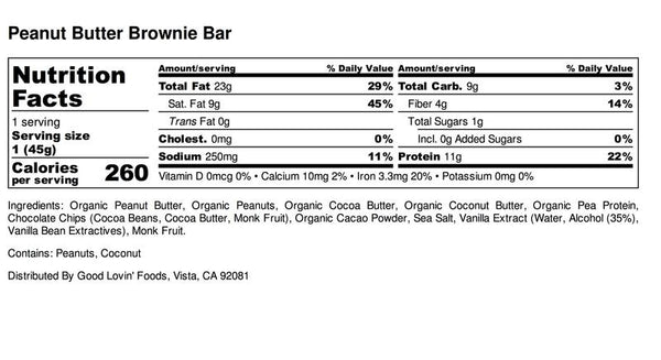 The Good Lovin Bar | Peanut Butter Brownie Keto Bar, 1.6oz | 4-Pack