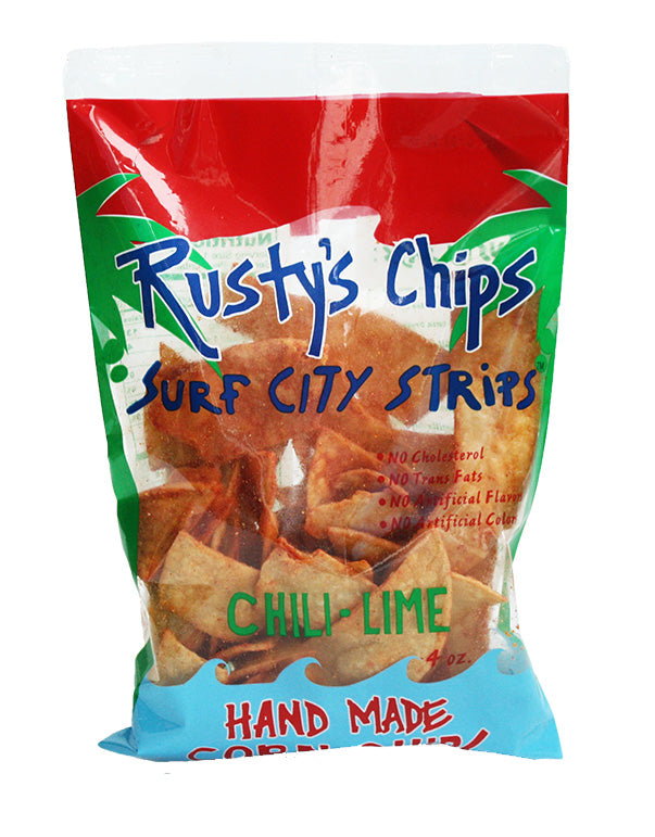 Rusty's | Handmade Chili-Lime Corn Chips, 4oz | 6-Pack