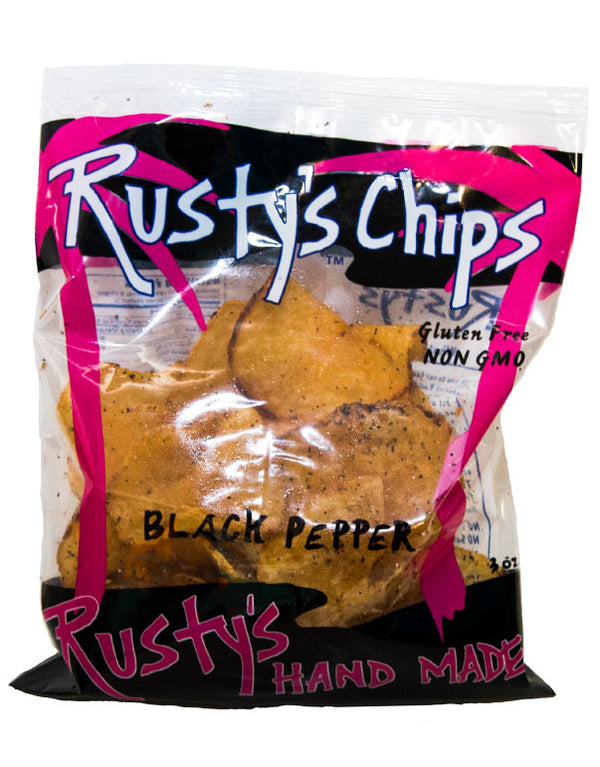 Rusty's | Handmade Black Pepper Chips, 3oz | 6-Pack