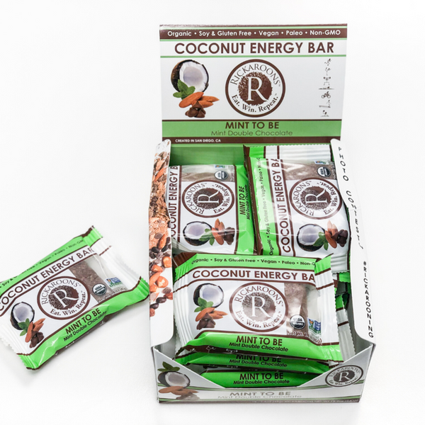 Rickaroons | Mint to Be Coconut Energy Bar, 1.6oz | 12-Pack