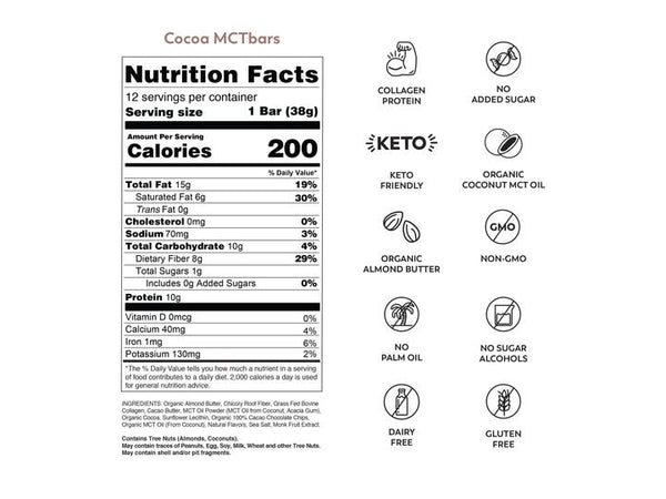 MCT Bar | Cocoa Keto Bar, 1.34oz | 12-Pack