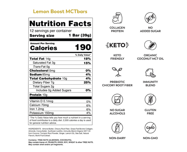 MCT Bar | Lemon Boost, 1.34oz | 12-Pack