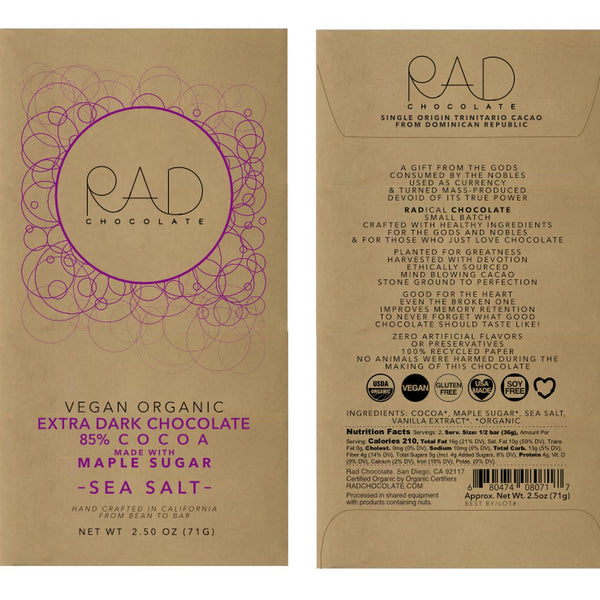 RAD Chocolate | Vegan Extra Dark Chocolate with Maple Sugar, 2.5oz | 6-Pack