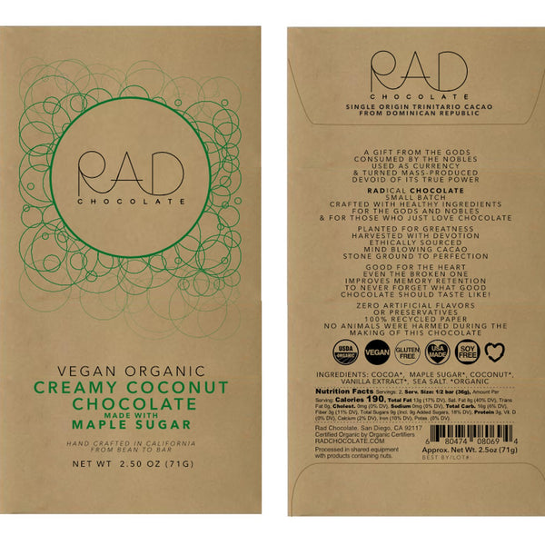 RAD Chocolate | Vegan Creamy Coconut Chocolate with Maple Sugar, 2.5oz | 6-Pack