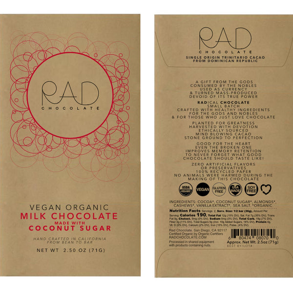 RAD Chocolate | Vegan Milk Chocolate Coconut Sugar, 2.5oz | 6-Pack