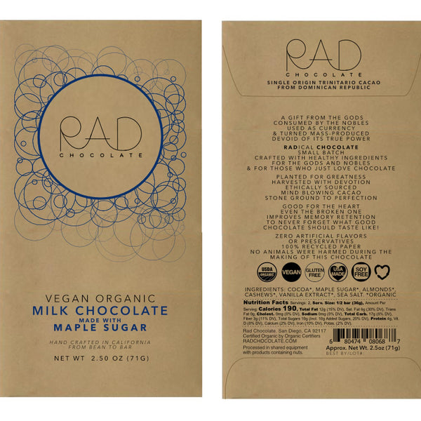 RAD Chocolate | Vegan Milk Chocolate with Maple Sugar, 2.5oz | 6-Pack