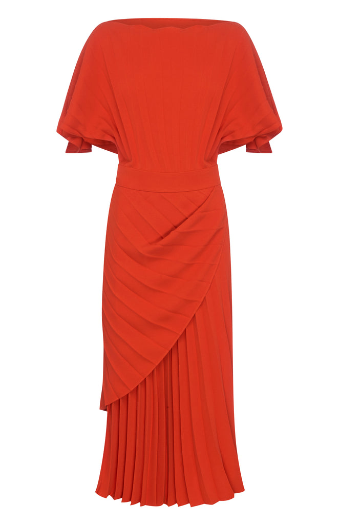 BURNT ORANGE CREPE BATWING DRESS