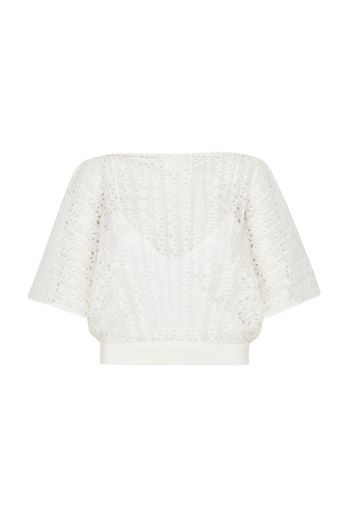WHITE LATTICE GEO PLEAT TOP