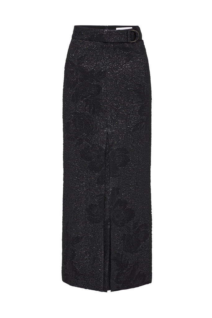 BLACK LUREX JACQUARD PLISSE SKIRT