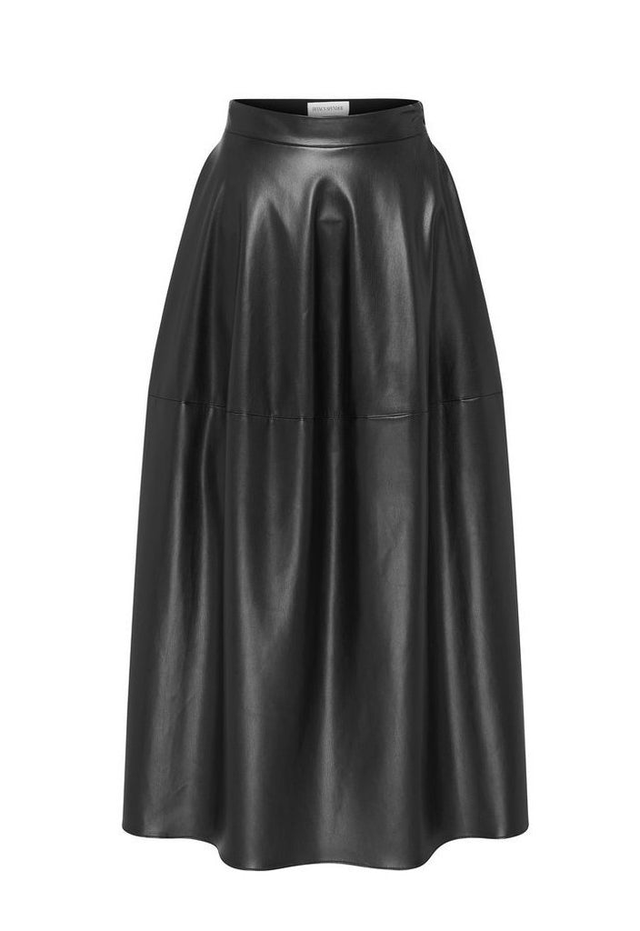 PITCH BLACK LEATHERETTE CURVATURE SKIRT