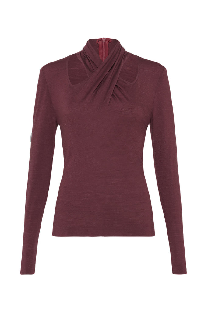 BURGUNDY MERINO FLUX TOP